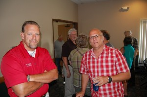 Lonnie Katt (L) & Todd Noordyk (R) at Rec Depot Game Room and Pool Table Giveaway by Great Lakes Radio - July 12th