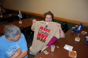 """Make Pasties Not War"" - T-Shirt Door Prize Winner at Rec Depot Gameroom Giveaway"