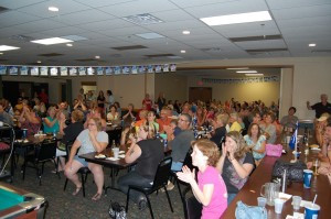 Crowd Claps for Sue Koehs at Great Lakes Radio & Rec Depot Game Room Giveaway July 12, 2012