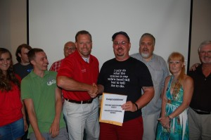 Lonnie of Rec Depot Shakes Hands with Dave Wiegand, The Grand Prize Winner