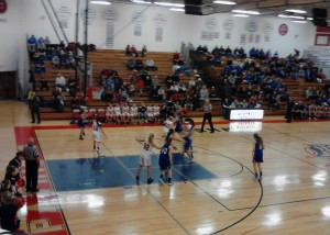 The Ishpeming Hematites and Westwood Patriots during play in the first half tonight.