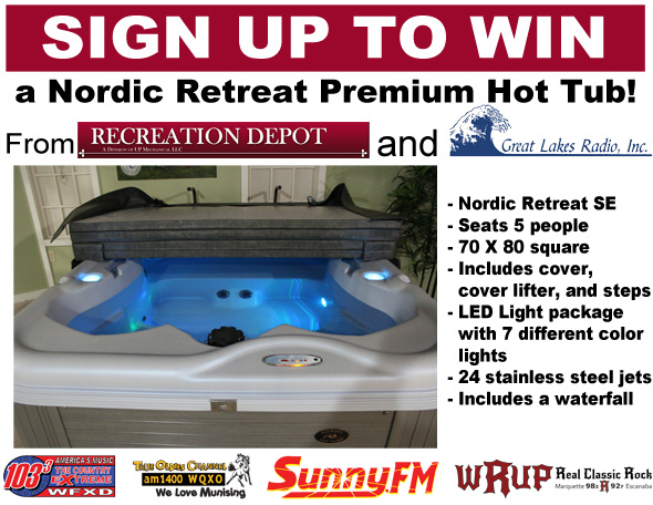 Nordic Retreat Premium Hot Tub from the Recreation Depot and Great Lakes Radio