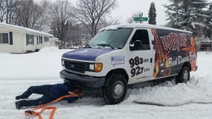 98.3 WRUP Van Stuck in Snowbank