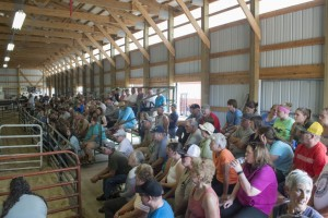 Sideview of the crowds at the Win the Meat Giveawayand 4-H Livestock Sale 2015