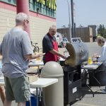 We've got burgers and hot dogs already on the grill, come out and pick one up