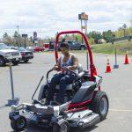 Lauren test driving one of the big mowers!