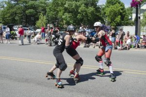 Some of the girls from Dead River Derby putting on a show