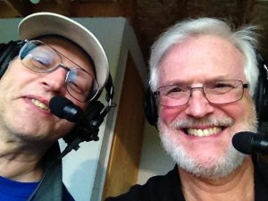 Mike and Bob in the UP Propane booth ready for Hematite football!