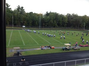 Hematites running onto the field for their game with the Westwood Patriots on 98.3 WRUP and WRUP.com