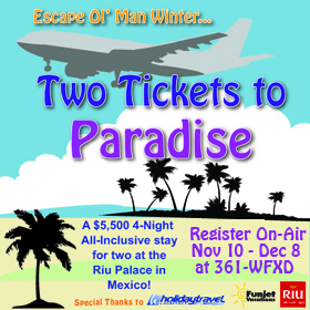 Register to win two tickets to paradise