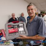 Kevin Stank with his new socket wrench set from Advanced Auto Parts.