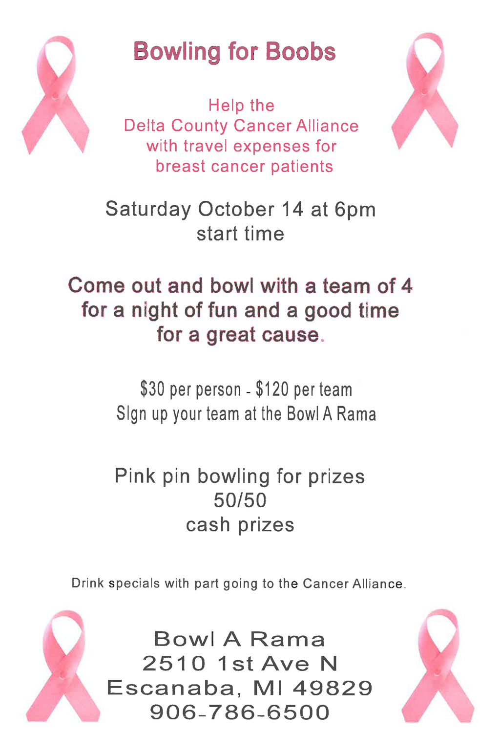 Support the Delta County Cancer Alliance and patient travel expenses.
