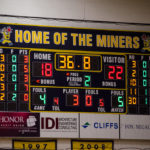 Ishpeming Hematites v Negaunee Miners half scoreboard