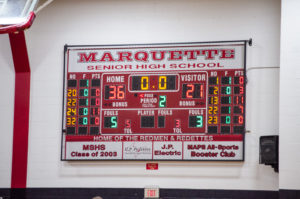 Ishpeming Hematites v Marquette Redmen halftime scoreboard