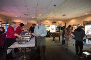 Guests enjoyed lasagna, cudighi bites, and salads.