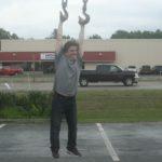 Mark Johnson having a little fun with the wrecker.