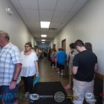 The line was around both sides of the hall and out the door.