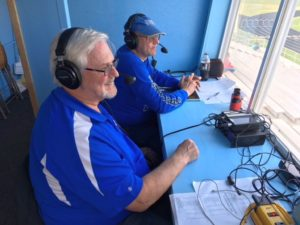 Mike Plourde and and Bob Nadeau in the press box before the game
