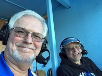Mike and Bob waiting to begin their commentary.
