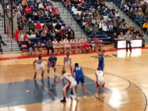 Ishpeming taking a free throw against the Westwood Patriots on 98.3 WRUP December 7th, 2018