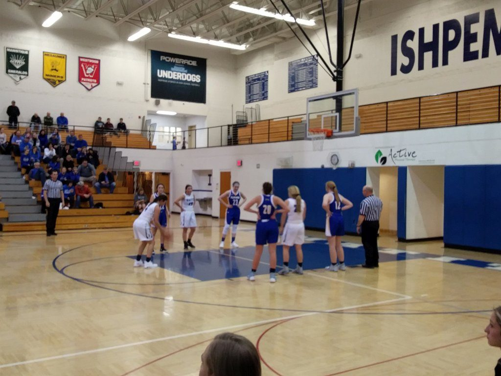Kingsford Flivers' free throw attempt against the Ishpeming Hematite girls basketball team