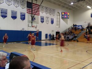 The Hancock Bulldogs finish their second half warm-up during their game against the Ishpeming Hematites boys team on 98.3 WRUP