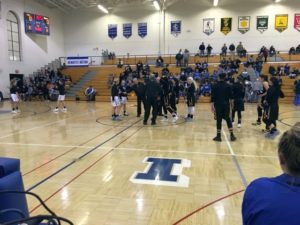 The Ishpeming Hematites and the Gwinn Modeltowners girls shake hands at the coin flip on Tuesday, January 8th, 2019 on 98.3 WRUP!