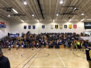 They gymnasium was packed for the rival game between the Ishpeming Hematites and the Negaunee Miners