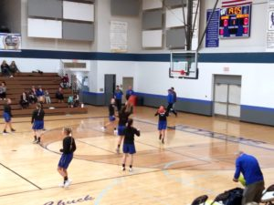 The Ishpeming Hematites girls basketball team warms-up to face the West Iron County Wykons on 98.3 WRUP