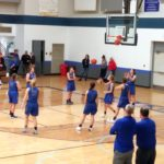 Second-half stretching for the Hematites girls as they took on the tough West Iron County Wykons on 98.3 WRUP