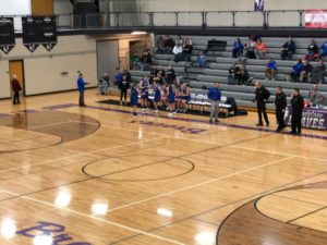 After halftime, the Ishpeming Hematites prepare to take the court on a cold Tuesday night in Gladstone