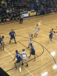 The Negaunee Miners take a free throw against the Ishpeming Hematites on Friday, February 8th, 2019