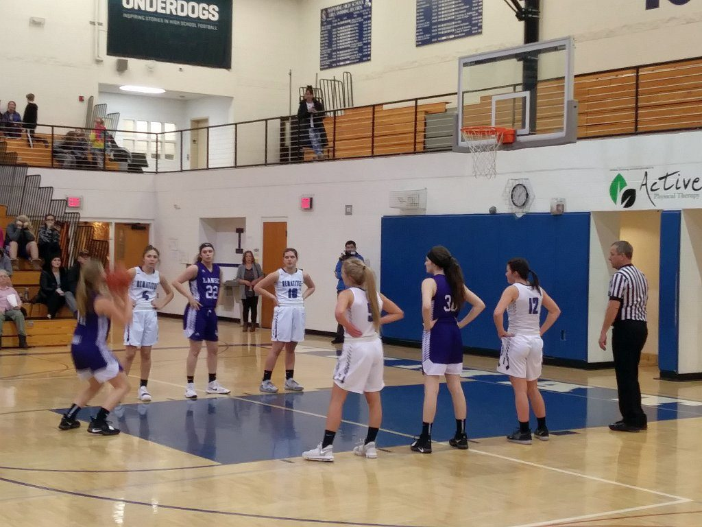 The L'Anse Purple Hornets take a free throw during their meeting with the Hematites on 98.3 WRUP and online at WRUP.com