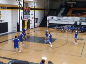 The Ishpeming Hematites warm up before their game in Gwinn