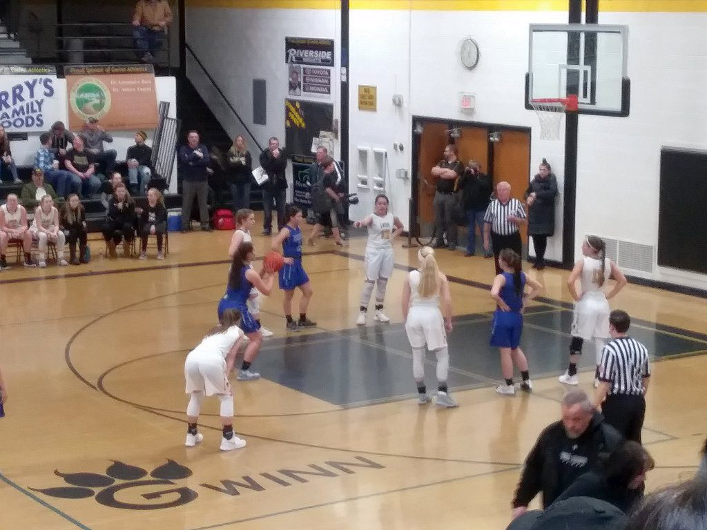 The Hematites attempt a free throw during their two point loss to Gwinn in the District 66 semi-finals on 98.3 WRUP.