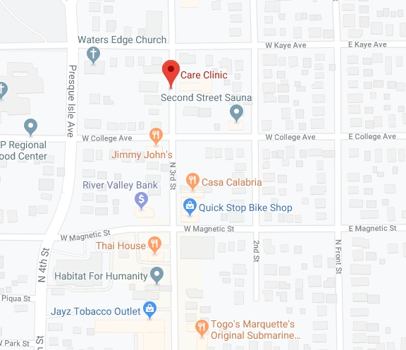 Find Care Clinic of Marquette with Google Maps