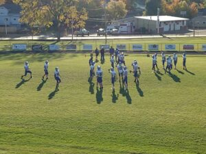 The Hematites running a pre-game drill.