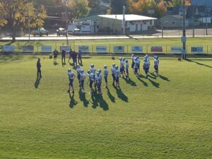 The Ishpeming Hematites warming up before the football game at Miner Stadium.